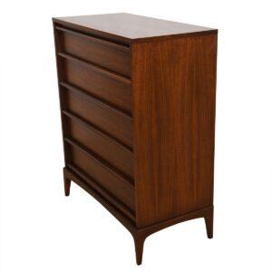 Mid-Century Modern Walnut Tall Dresser w/ Graduated Drawers