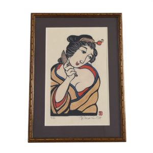 Vintage Japanese Wood Block Print, Woman with Comb