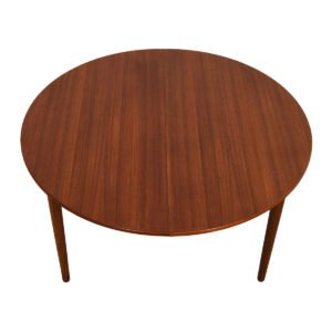 New 51″ Danish Teak Round-to-Oval Expanding Dining Table