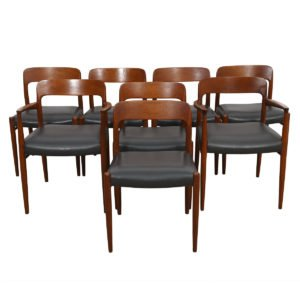 Set of 8 (2 Arm + 6 Side) Danish #56 / #75 Teak & Leather Moller Chairs