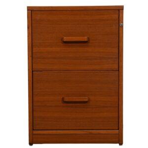 Danish Teak 2-Drawer Locking File Cabinet
