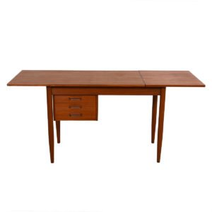 Teak Expanding Danish Modern Desk w/ Adjustable Drawers