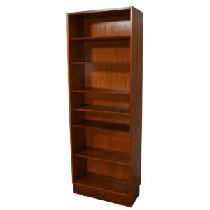 Slim & Tall Danish Modern Teak 28″ Adjustable Bookcase