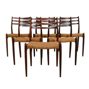 Set of 6 Niels Moller Rosewood Dining Chairs Model #78