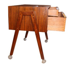 Danish Modern Rosewood Sewing Table / Cart