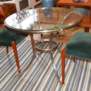 Vintage LaBarge 36″ Glass Dinette Table in Brass & Stainless Steel