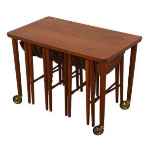 Danish Modern Teak Rolling Cart w/ Nesting Drop leaf Accent Tables