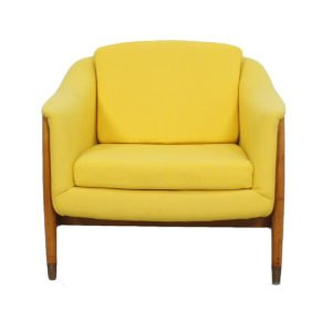 1950's Swedish Club Chair by Dux w/ Sunny-Yellow Upholstery