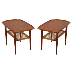 Delightful Pair of Danish Modern Teak & Cane End Tables
