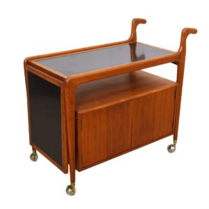 Locking Danish Modern Teak Expandable Bar / Serving Cart