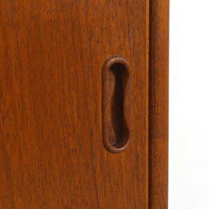 Petite Danish Modern Teak Sliding Door 47″ Cabinet