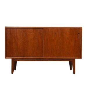 Petite 47″ Danish Modern Teak Sliding Door Cabinet