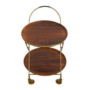 Rosewood & Brass Bar – Cocktail Cart w/ Removable Serving Trays