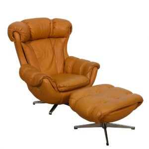 Big + Comfy Mustard Swivel & Recline Lounge Chair w/ Ottoman