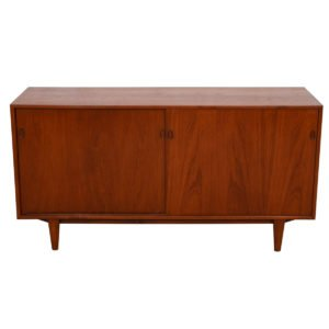 Kofod Larsen Danish Teak Sliding Door Cabinet for Clausen & Son