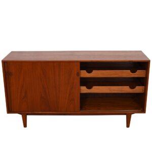 Kofod Larsen Danish Teak Room Divider / Sliding Door Cabinet (w/ Drawers) for Clausen & Son