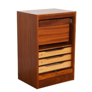 Petite Danish Modern Teak Locking Tambour Door Filing Cabinet