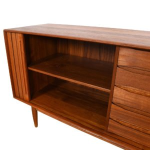 Solid-Teak Danish Tambour Room Divider Sideboard – Another Rare Aasbjerg Piece!