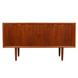 Tambour Door Room Divider — 59″ Danish Teak Sideboard