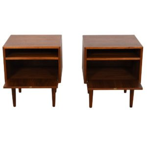 Pair of Danish Modern Walnut Nightstands / Side Tables