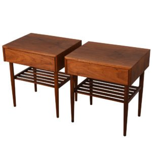Brown Saltman Pair of Rare Walnut Nightstands