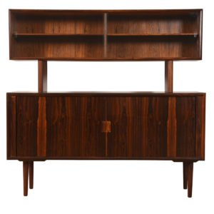 Gorgeous Room Divider / Danish Rosewood Tambour Door 2-Piece Sideboard