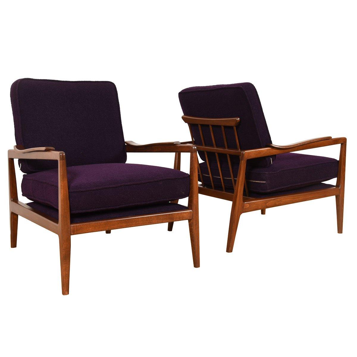 Pair of mid century modern walnut lounge chairs