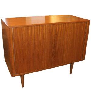 36″ Mini Danish Tambour Door Walnut/Teak Cabinet