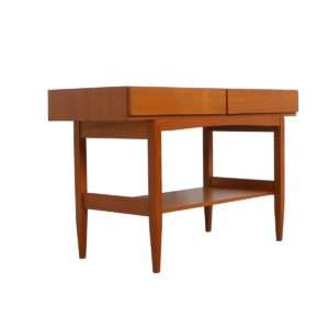 Danish Modern Teak Console Table with Two Drawers & Shelf