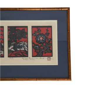 Vintage Japanese Wood Block Print, The Four Seasons