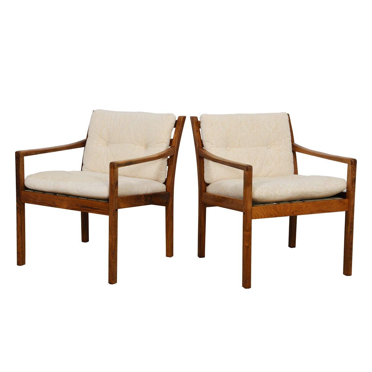 Pair of danish modern rosewood lounge chairs