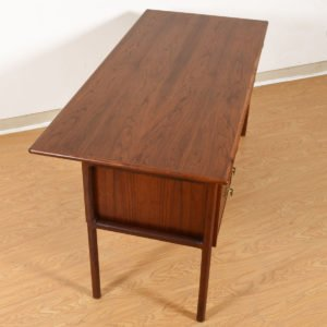 Locking Mid-Century Modern Mid-Sized Walnut Desk