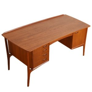 Danish Modern Floating Top Executive Desk in Teak