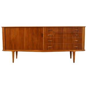 Danish Walnut Sideboard / Credenza w/ Tambour Door by Moreddi
