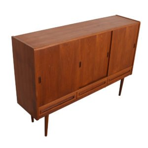 Thin Danish Modern Teak Highboard / Bar Cabinet