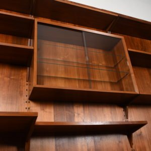 4-Panel Danish Modern Walnut Adjustable Wall Unit