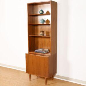 28″ Danish Studio-Sized Locking Cabinet w/ Bookcase Top in Walnut