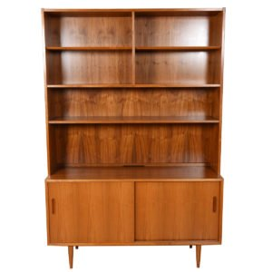 Condo-Sized Walnut Sideboard w/ Adjustable Bookcase Media Top