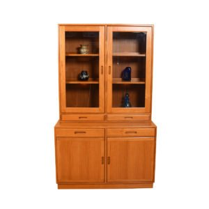 Lighted Danish Modern Teak Thin Storage / Display Cabinet