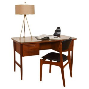 Petite Danish Modern Teak Curved Desk w/ Protective Glass Top