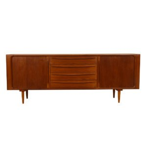 Danish Modern Sculpted Tambour Door Teak Sideboard / Room Divider