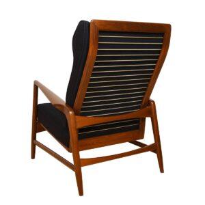 Kofod Larsen Danish Walnut & Black Adjustable Lounge Chair w/ Ottoman by Selig