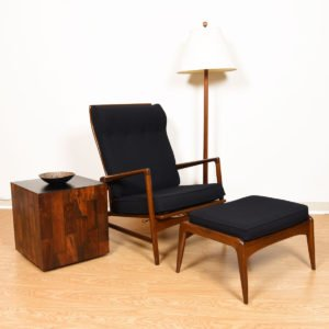 Kofod Larsen Danish Walnut & Black Adjustable Lounge Chair w/ Ottoman by Selig
