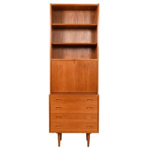 Studio-Sized Teak Mini-Dresser Secretary w/ Locking Bookcase Top