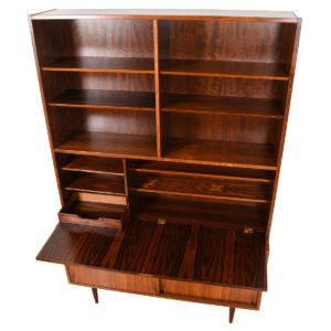 Danish Rosewood 2-Piece Secretary / Display / Sliding Door Cabinet