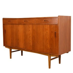 Tall Danish Modern Teak Buffet / Server / Bar Cabinet