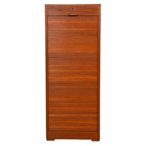 Danish Modern Teak Tall Locking File Cabinet