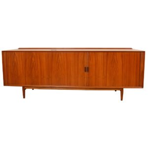 Arne Vodder 84″ Multi-Functional Stereo Media Cabinet / Tambour Door Sideboard