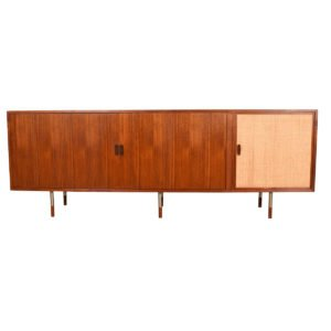 Arne Vodder Tambour Door Caned Sideboard w/ Steel Legs