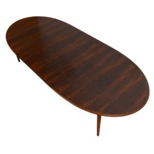 Large Oval Danish Modern Rosewood Expanding Dining Table